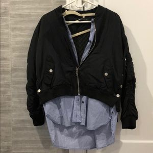 ZARA black rouged bomber with built in button down